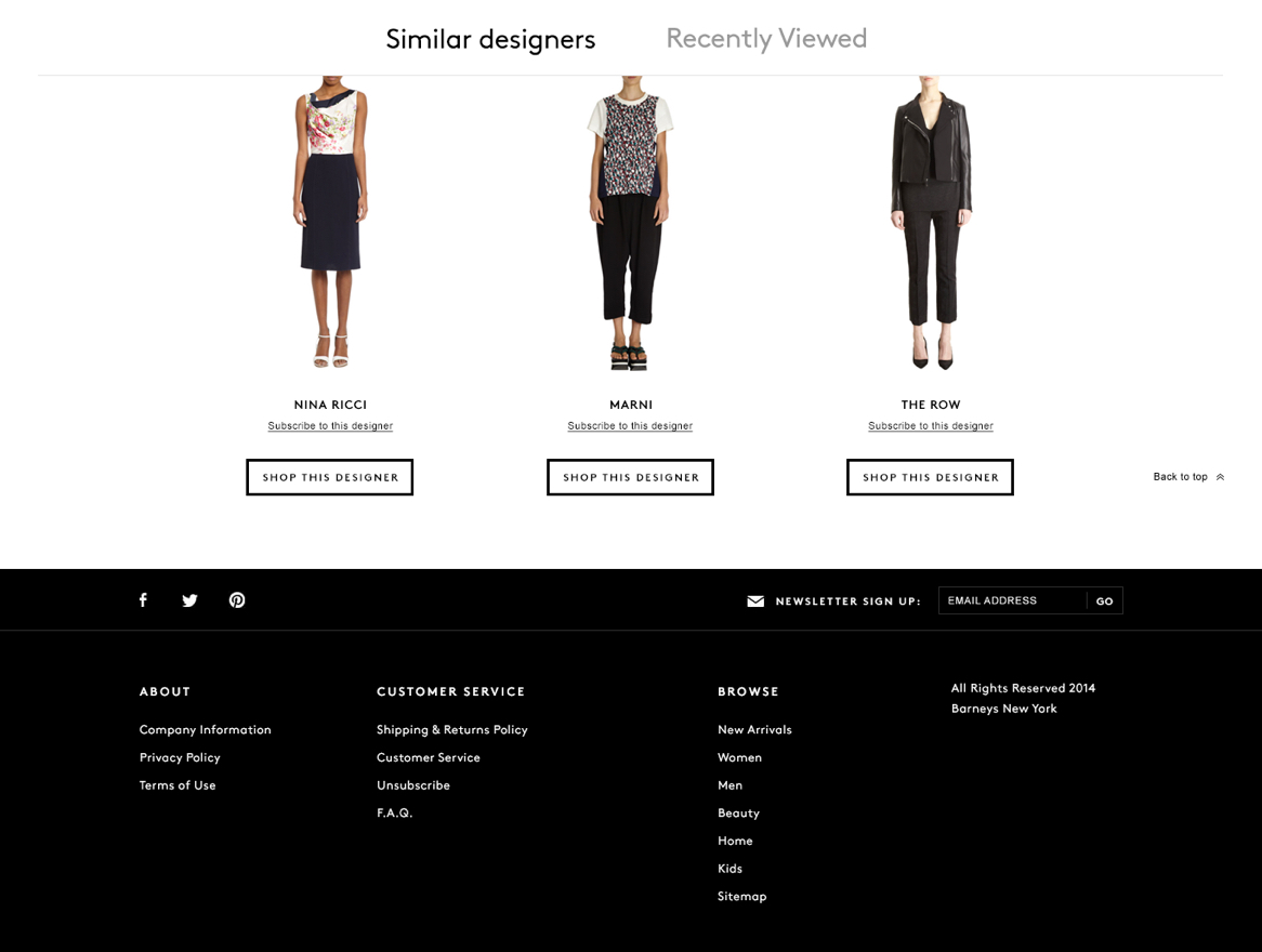 Barneys Warehouse website product detail page cross sell