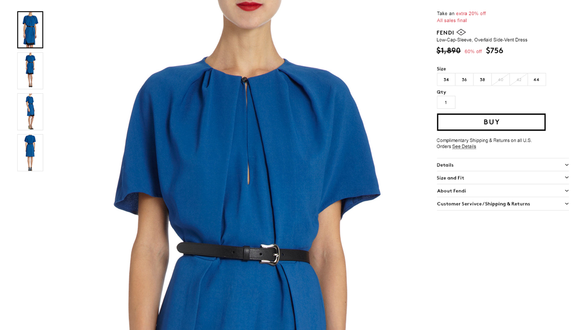 Barneys Warehouse website product detail page