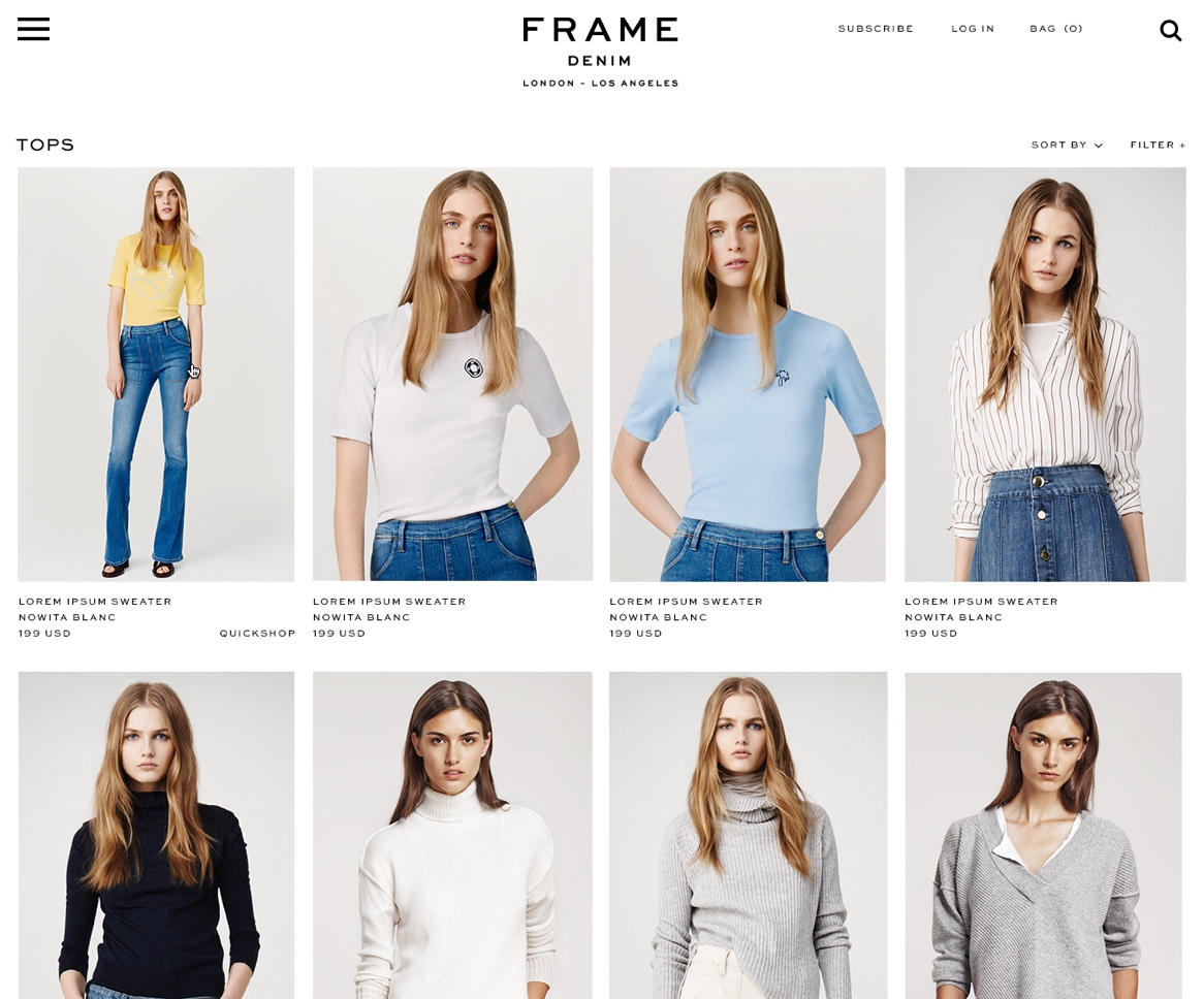 Frame Denim website product listings page